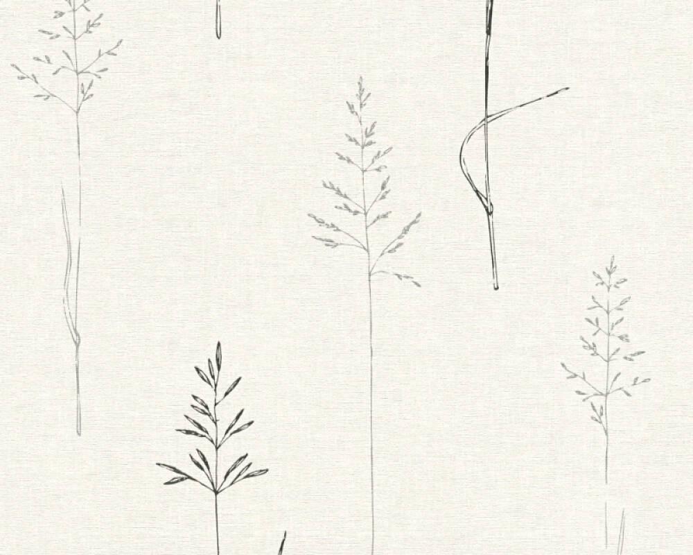A.S. Création papier peint Graphique, Floral, blanc, métallique, noir 356933