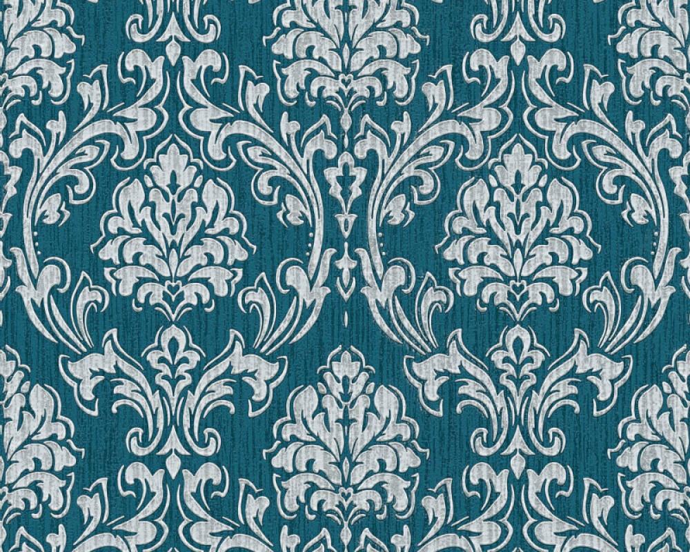 Esprit Home Wallpaper Baroque, Blue, Grey, Metallic, Silver 357021