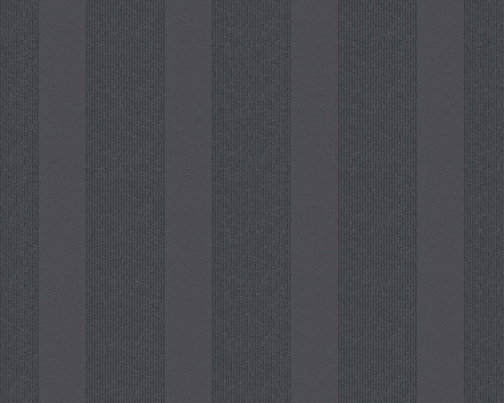 Esprit Home Wallpaper Stripes, Black, Metallic, Silver 357134