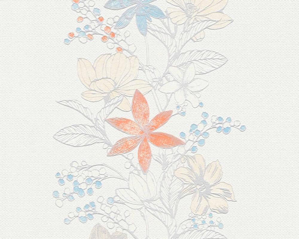 Esprit Home papier peint Fleurs, argent, blanc, multicolore, métallique 357542
