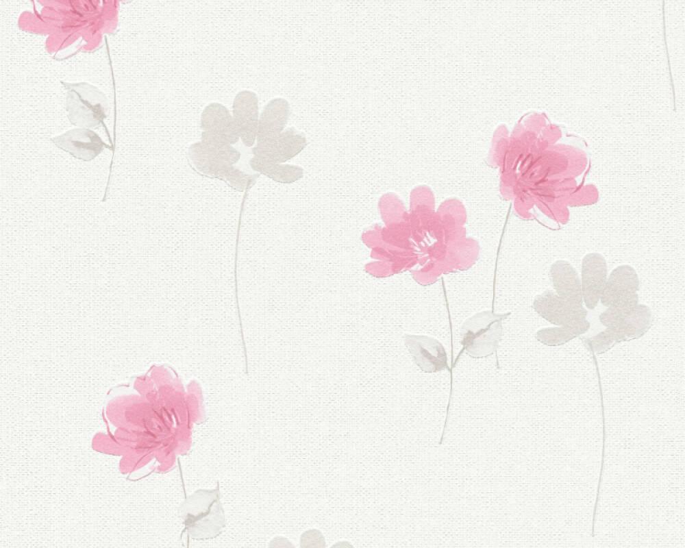Livingwalls Wallpaper Floral Cream Grey Pink P468740093