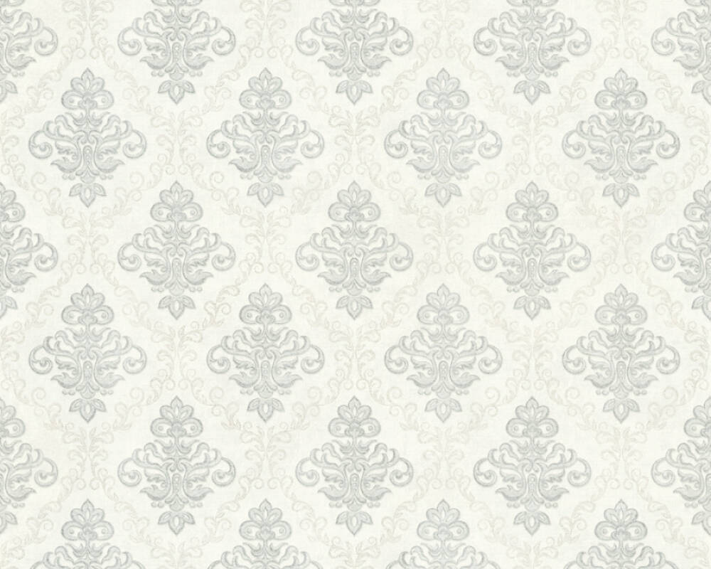 A.S. Création Wallpaper 359331: Wallpaper, wallpapers, wallpaper, wallpaer, walpaper, walpapper, Cream, Grey, Metallic, Silver, Baroque, Cottage, baroque, cottage, Hallway, Kitchen, Living, Sleeping, corridor, kitchen, living room, bedroom, Duetto