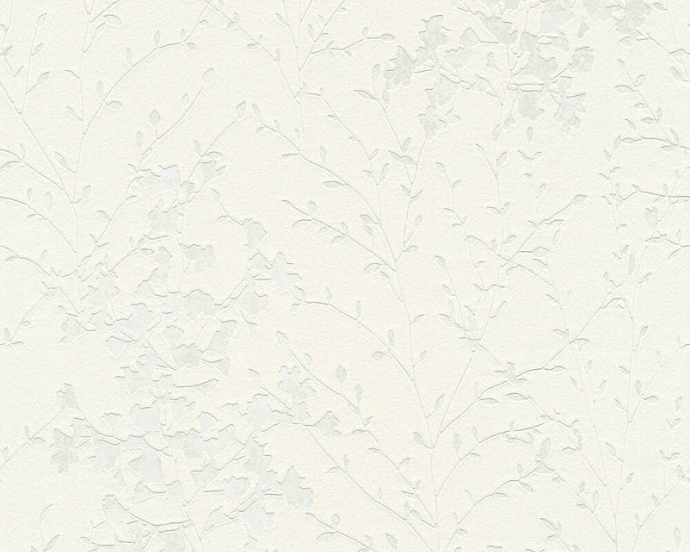 A.S. Création Wallpaper Cottage, Flowers, Cream, Metallic, White 360824