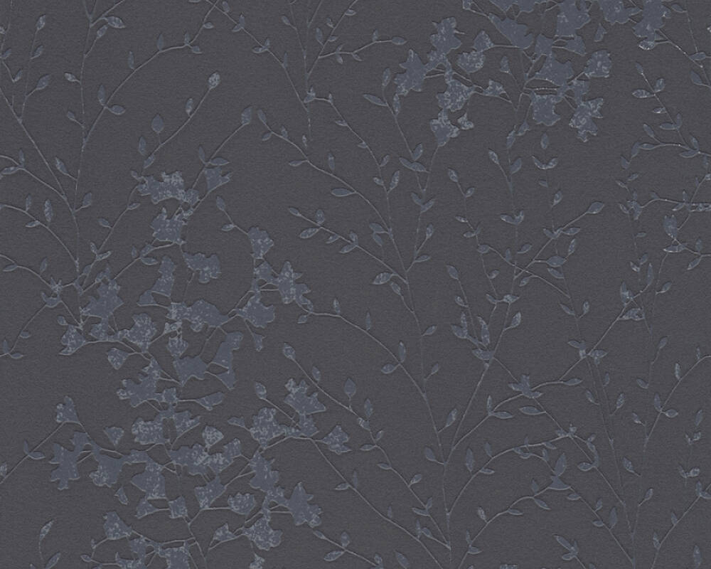 A.S. Création Wallpaper Cottage, Flowers, Black, Grey, Metallic 360826