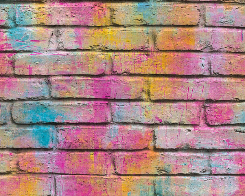 A.S. Création Wallpaper Stone, Coloured, Purple, Yellow 361001