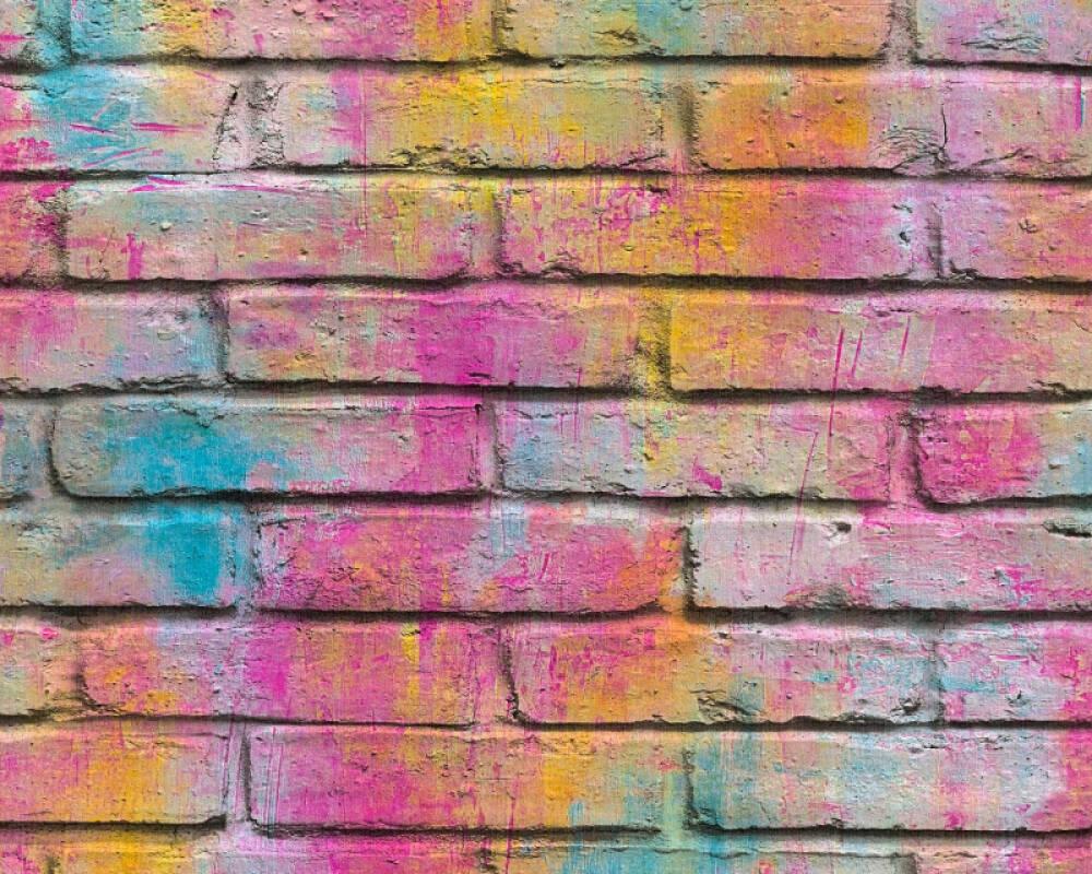 A.S. Création papier peint Pierre, jaune, multicolore, violet 361001