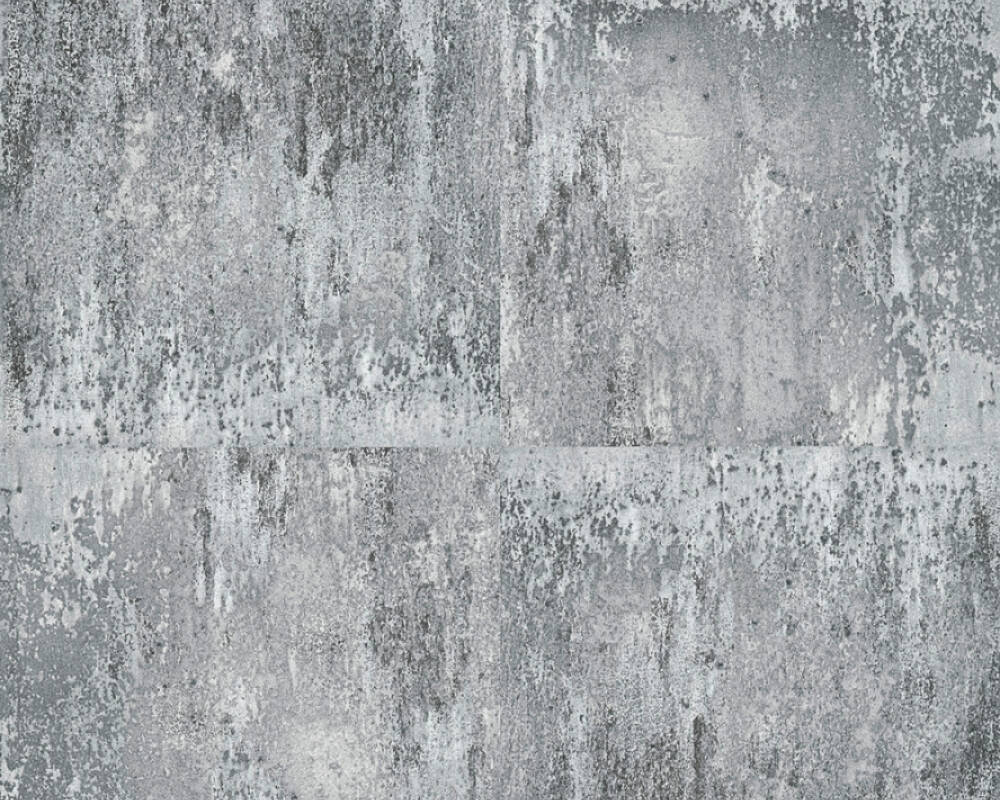 A.S. Création Wallpaper Concrete, Black, Grey, Metallic, Silver 361183