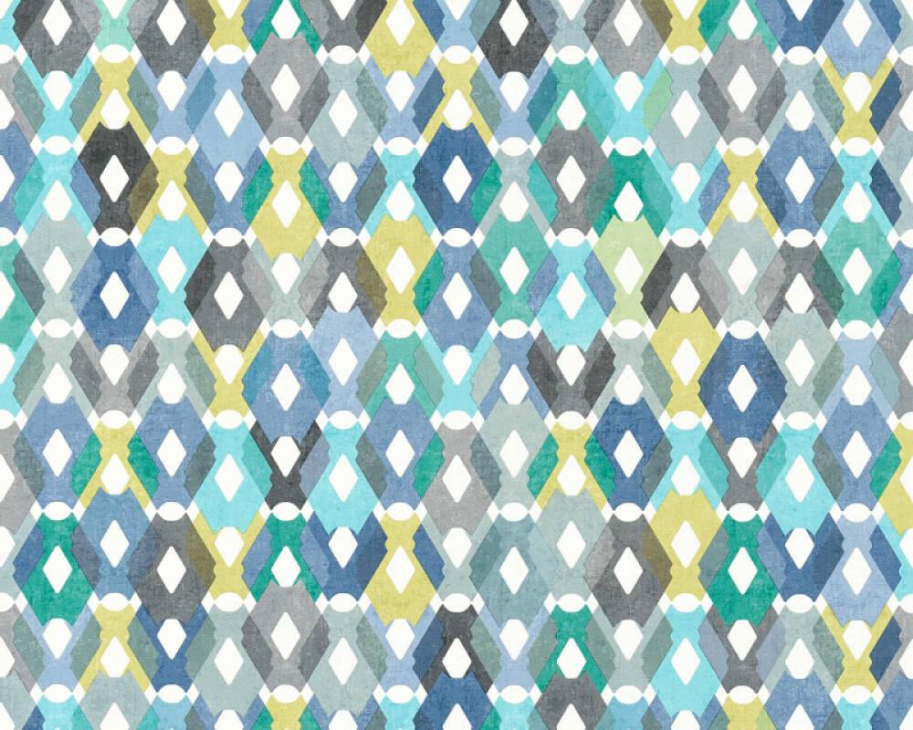 Livingwalls papier peint Graphique, 3D, blanc, bleu, gris, jaune 362882