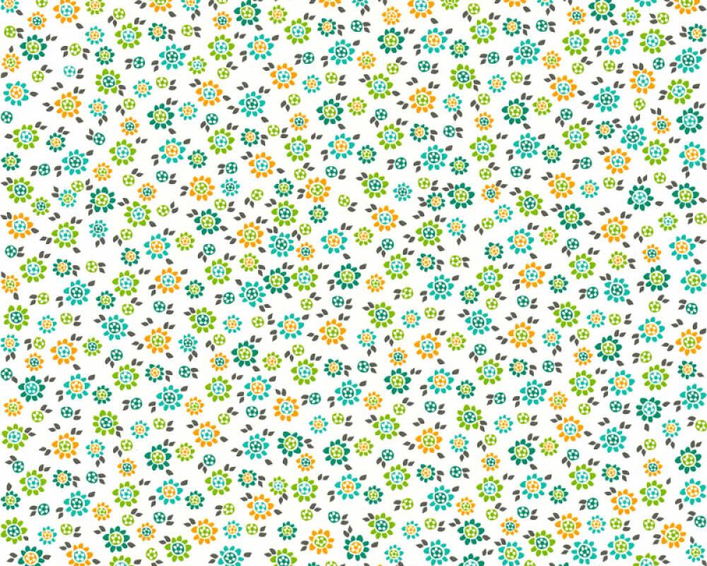 Livingwalls Обои Деревенский стиль, Цветы, Белые, Бирюзовые, Желтыe, Зеленые 362921