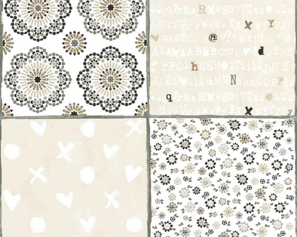 Livingwalls papier peint Maison, Fleurs, beige, blanc, gris, marron 362961