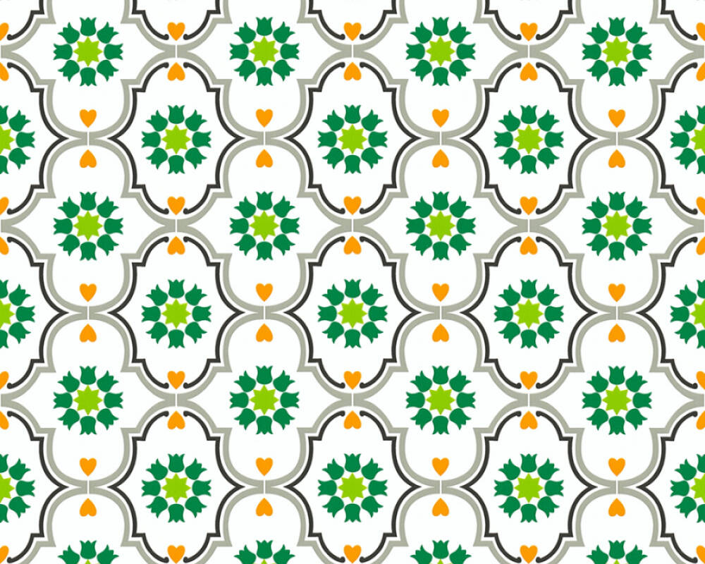 Livingwalls Wallpaper Cottage, Flowers, Black, Green, Grey, Orange 362973