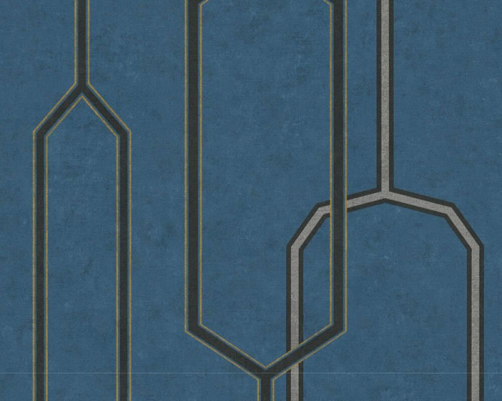A.S. Création Wallpaper Graphics, 3D, Black, Blue, Gold, Metallic 363141