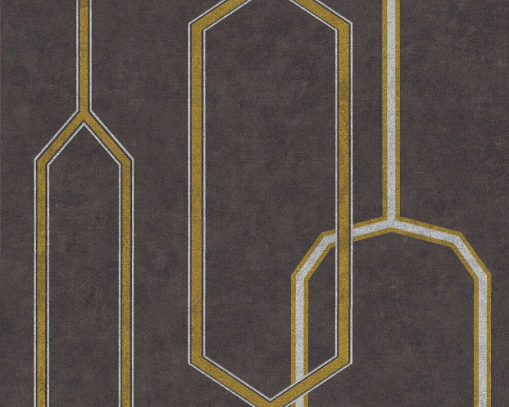 A.S. Création Wallpaper Graphics, 3D, Black, Gold, Metallic, Silver 363142