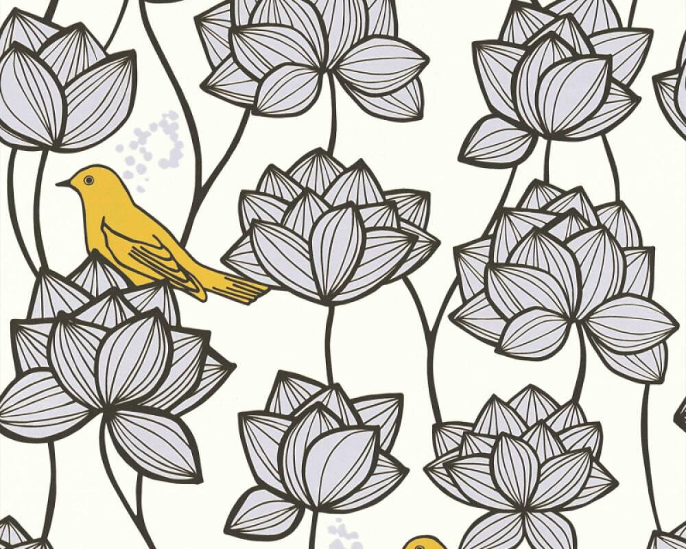 A.S. Création papier peint Fleurs, blanc, gris, jaune 363172
