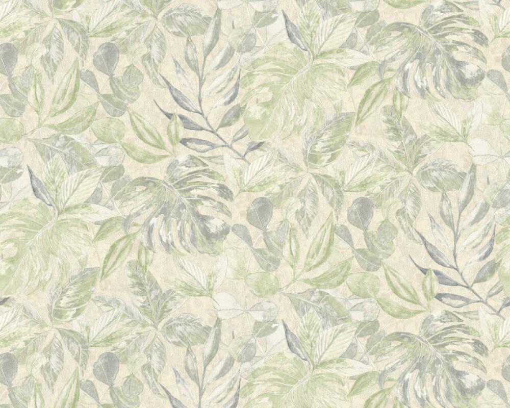 A.S. Création Tapete Blumen, Beige, Creme, Grün, Metallics 363245