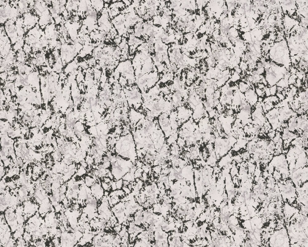 A.S. Création Wallpaper Uni, Black, Grey, Metallic, White 363253
