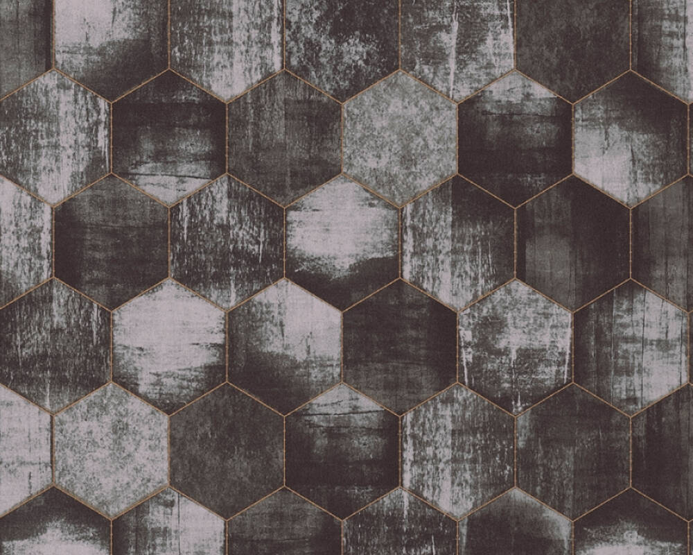 A.S. Création Wallpaper Graphics, Copper, Grey, Metallic, Silver 363304