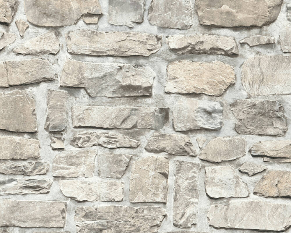 A.S. Création Wallpaper Stone, Beige, Grey, Taupe 363702