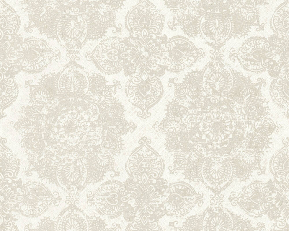 Livingwalls Tapete Barock, Floral, Beige, Creme, Grau, Metallics 364632