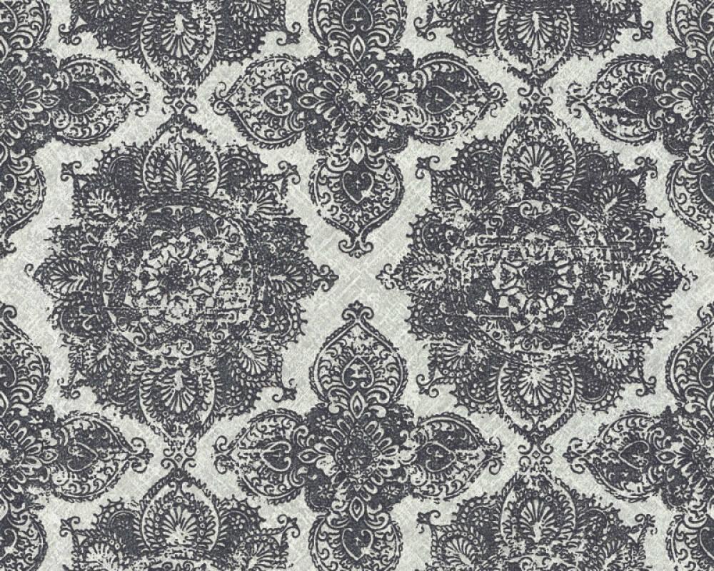 Livingwalls Wallpaper Baroque Floral Black Grey Metallic Silver