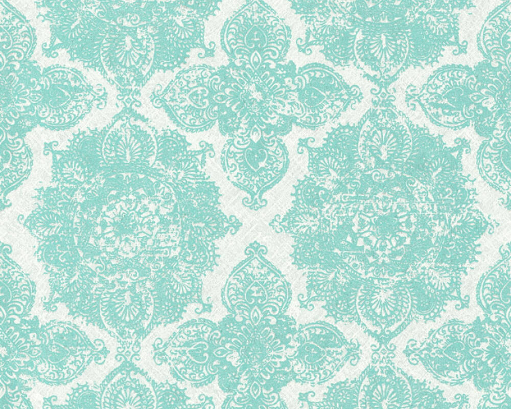 Livingwalls Wallpaper Baroque Floral Blue Green Grey Silver