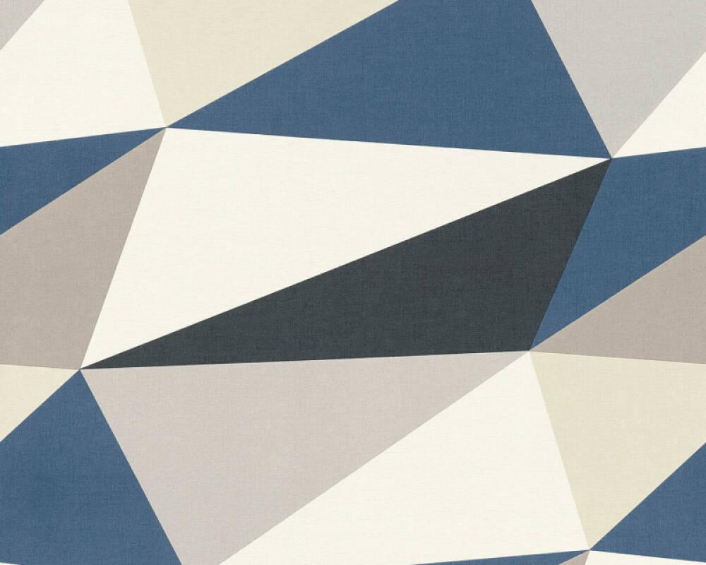 A.S. Création papier peint Graphique, blanc, bleu, gris, marron 364752