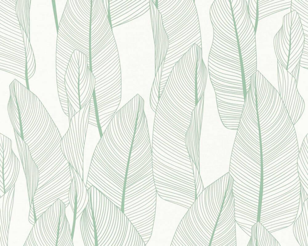 A.S. Création papier peint Maison, Floral, blanc, vert 364971