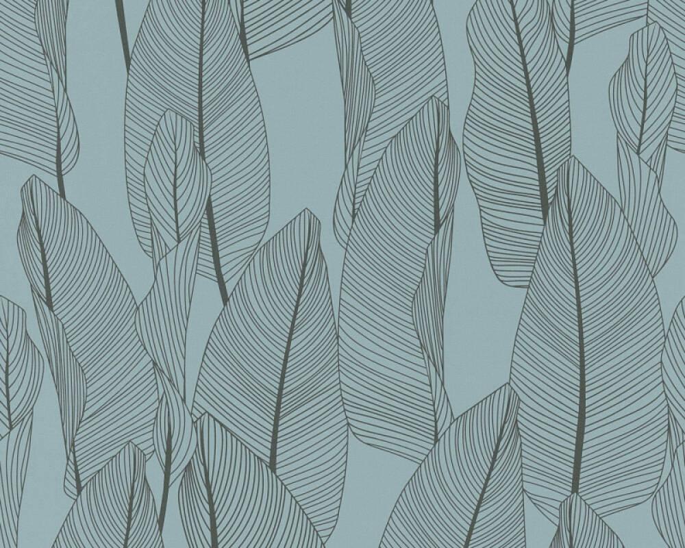 A.S. Création papier peint Maison, Floral, bleu, noir 364972