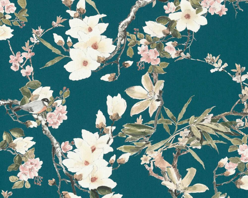 MICHALSKY LIVING papier peint Maison, Fleurs, beige, bleu, crème, gris 364984