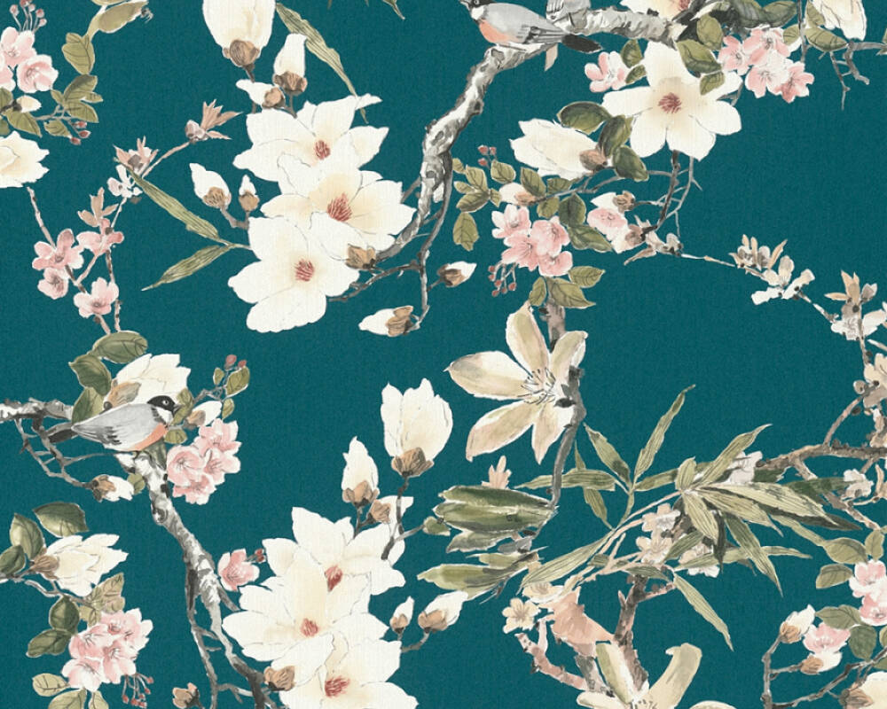 MICHALSKY LIVING Wallpaper Cottage, Flowers, Beige, Black, Blue, Brown 364984
