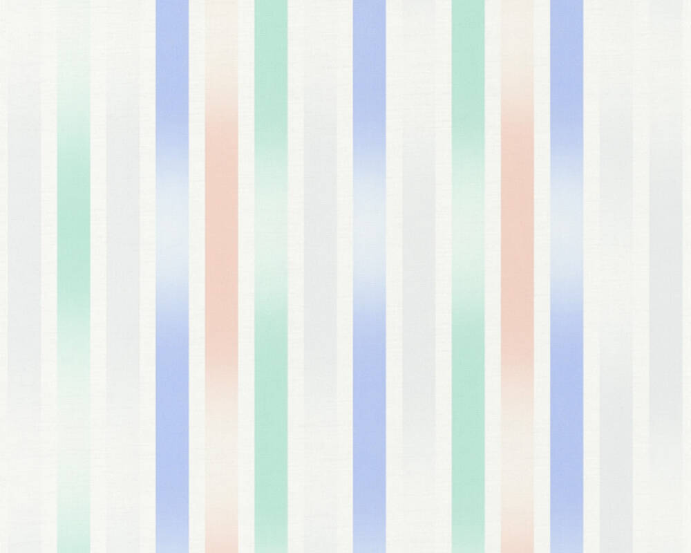 Esprit Home Wallpaper Stripes, Blue, Green, Grey, Pink 365251