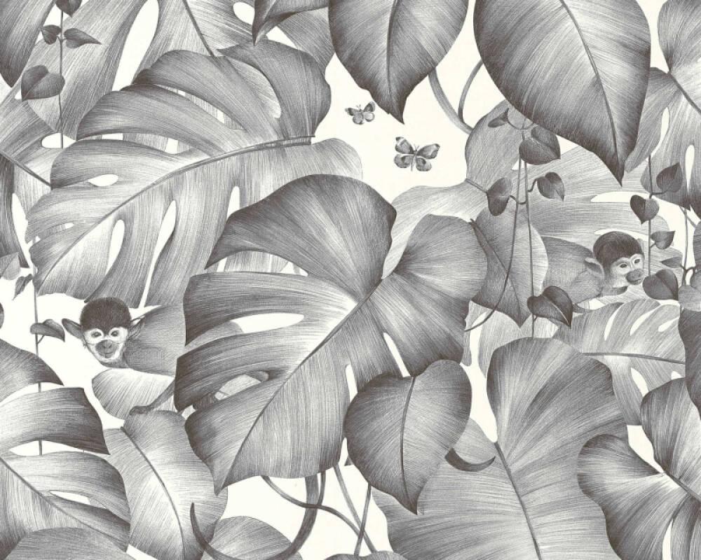 Livingwalls Wallpaper Jungle, Black, White 366252