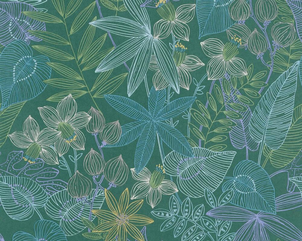 Livingwalls Tapete Dschungel, Blau, Gelb, Grün, Violett 366302