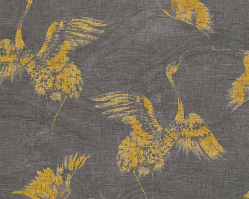 A.S. Création papier peint Graphique, gris, jaune, noir 366313