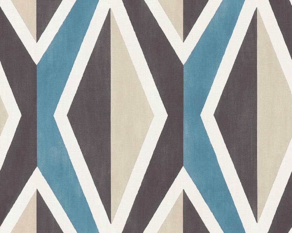 A.S. Création papier peint Graphique, 3D, beige, blanc, bleu, crème 366821