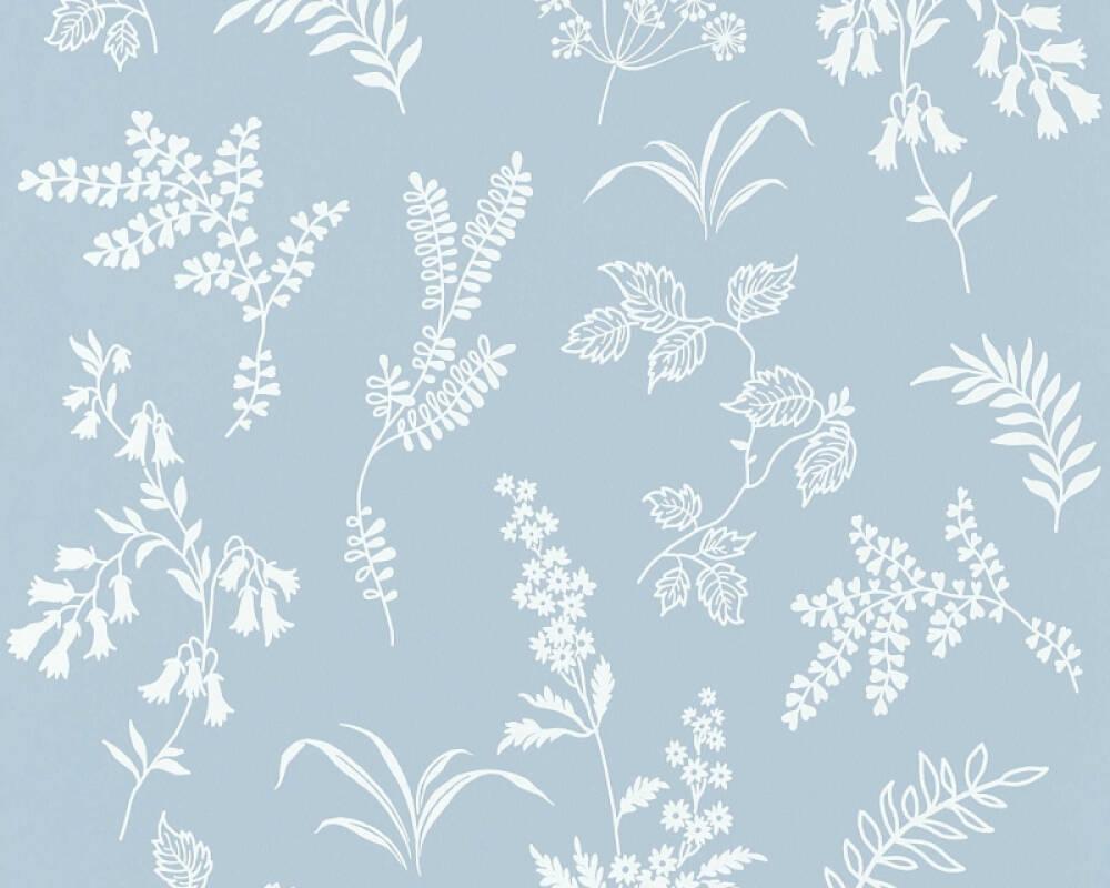 A.S. Création papier peint Fleurs, blanc, bleu 366934
