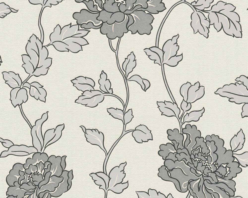 A.S. Création Wallpaper Flowers, Cream, Grey, Metallic, Silver 366951
