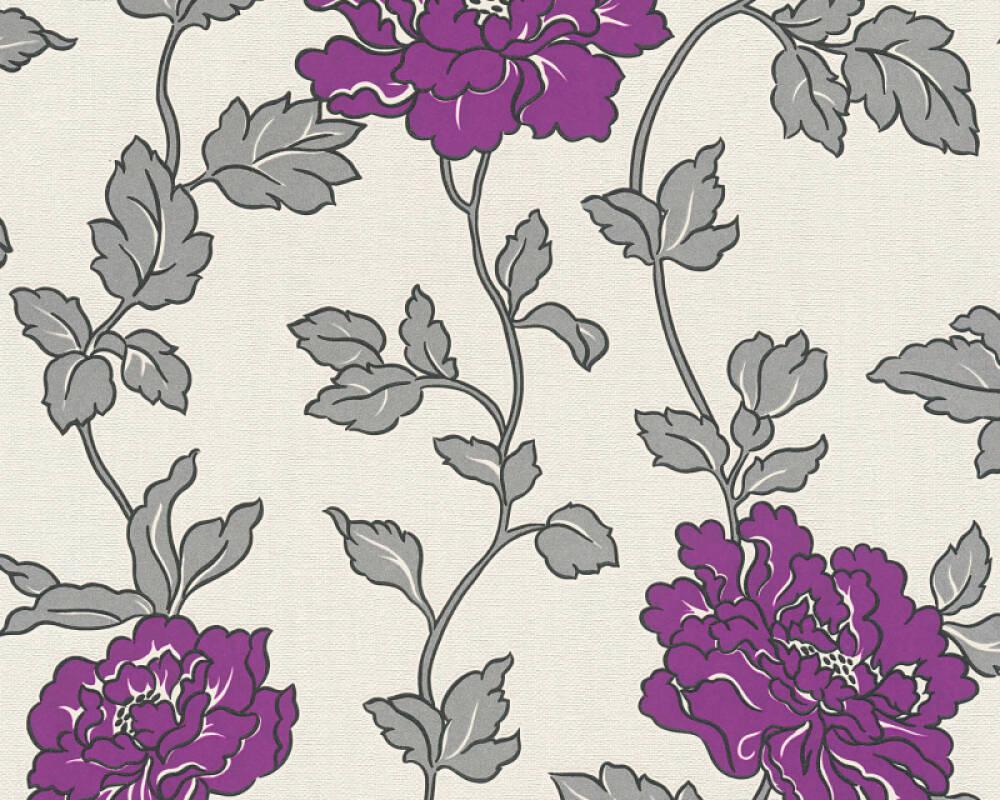 A S Creation Wallpaper Flowers Cream Metallic Purple Silver