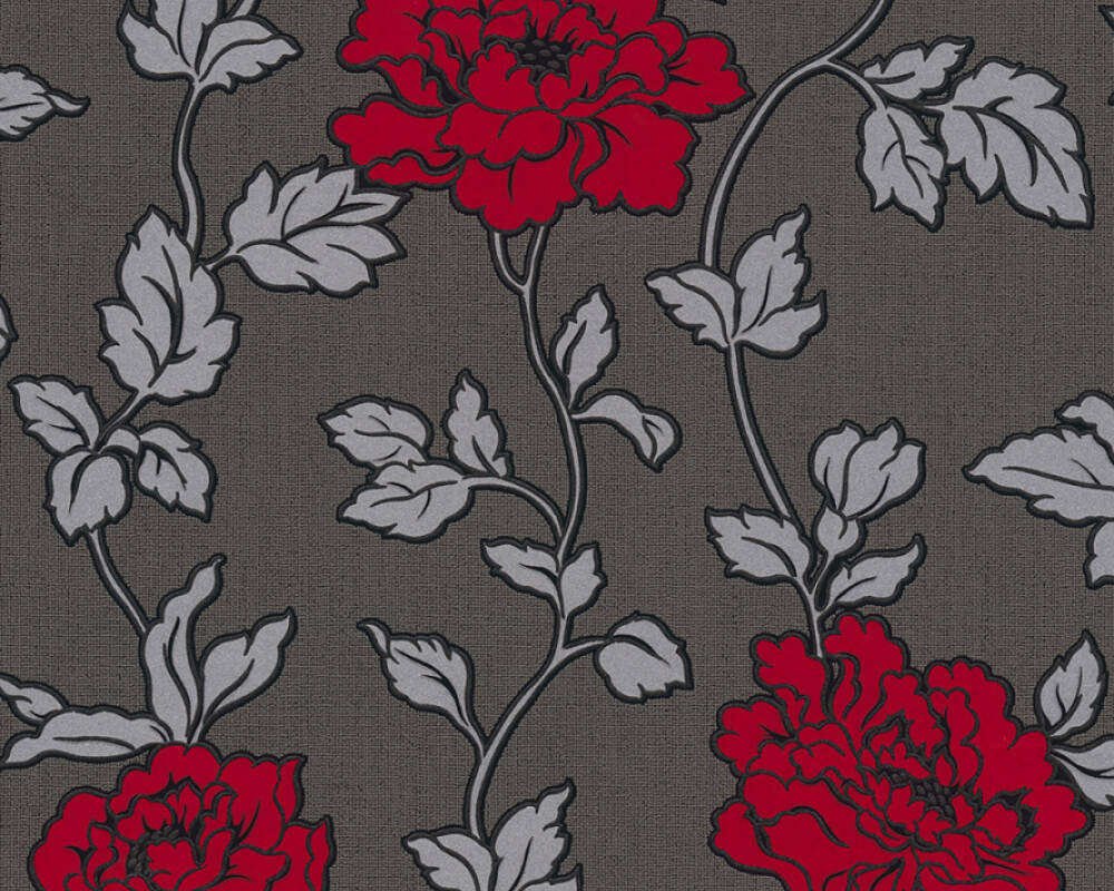 As Creation Wallpaper Flowers Black Metallic Red Silver 366957
