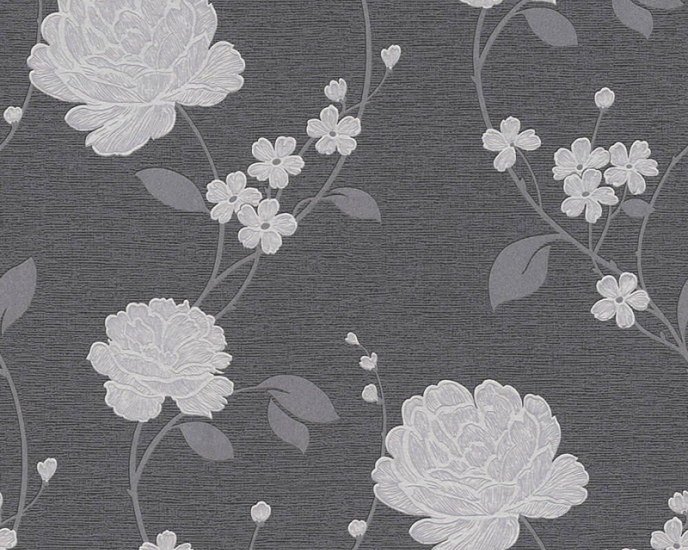 A.S. Création Wallpaper Flowers, Black, Metallic, Silver 367012