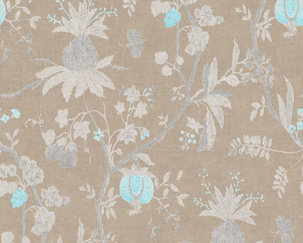 Livingwalls Wallpaper Wood, Cottage, Blue, Brown, Grey, Turquoise 367193