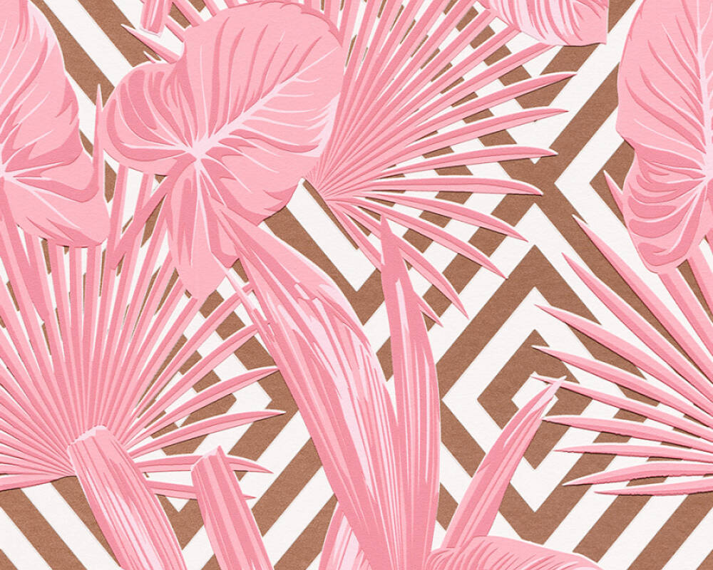A.S. Création Wallpaper Graphics, Floral, Copper, Metallic, Pink, White 368111