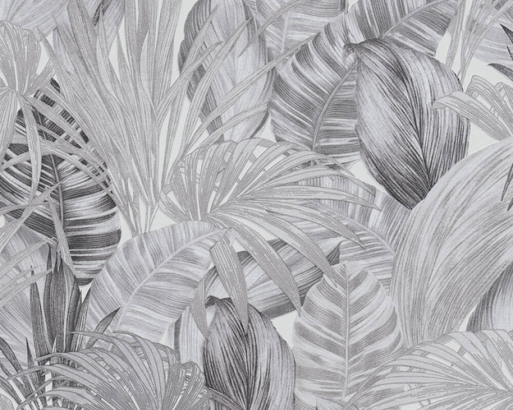A.S. Création Wallpaper Floral, Black, Grey, White 368203
