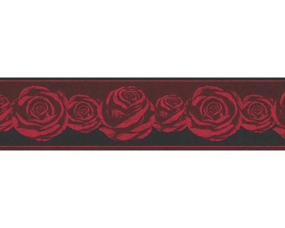 A.S. Création frise Floral, noir, rose, rouge 368621