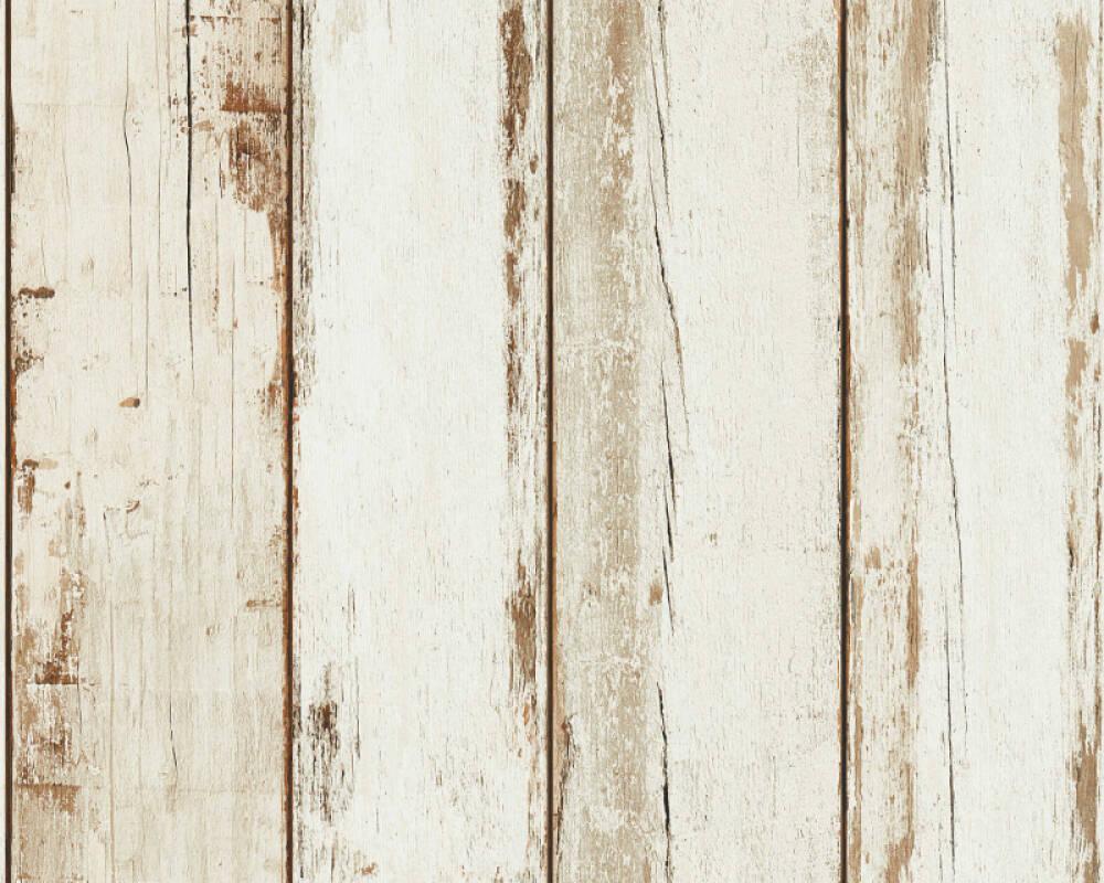 A.S. Création papier peint Bois, Maison, 3D, crème, marron, noir 368931