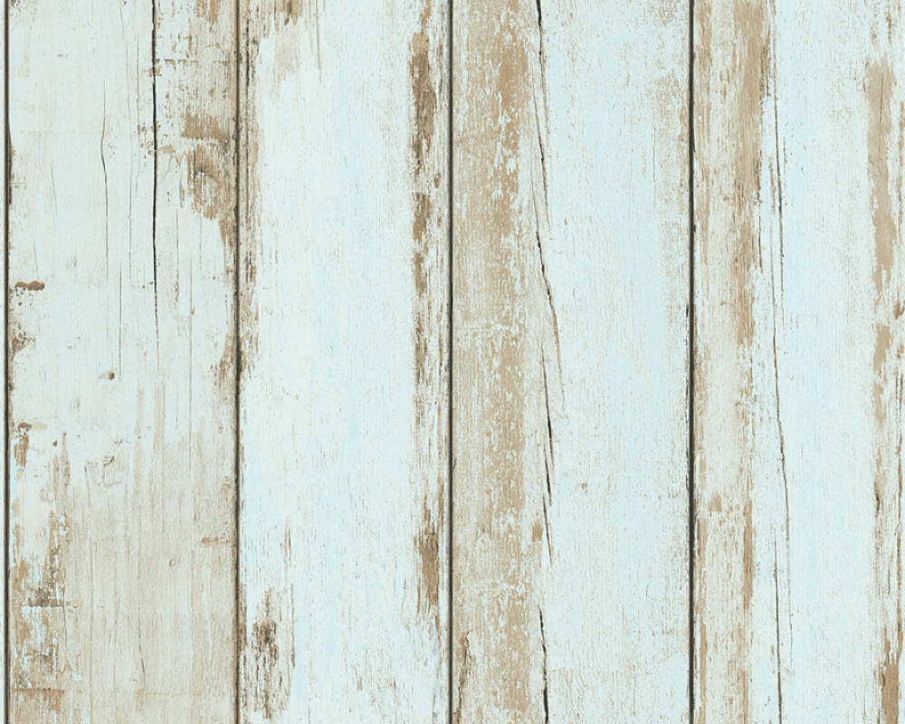 A.S. Création papier peint Bois, Maison, 3D, bleu, marron, noir 368933