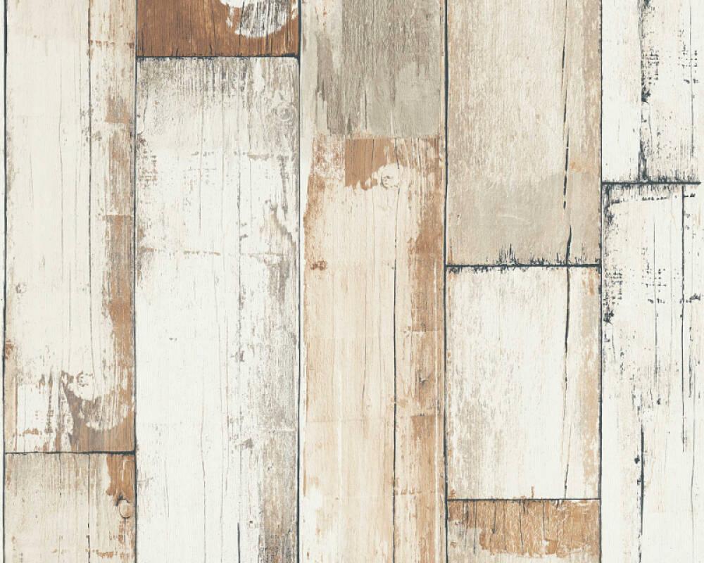 A.S. Création papier peint Bois, Maison, blanc, crème, marron, noir 368941