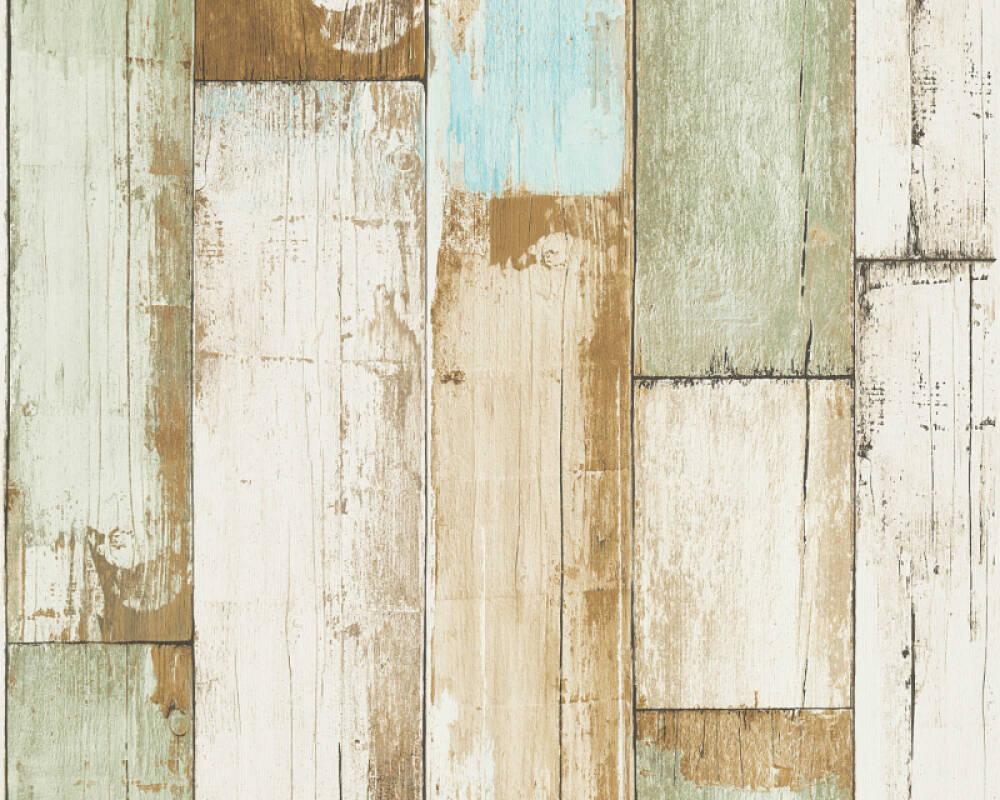 A.S. Création papier peint Bois, Maison, 3D, beige, blanc, bleu, crème 368942