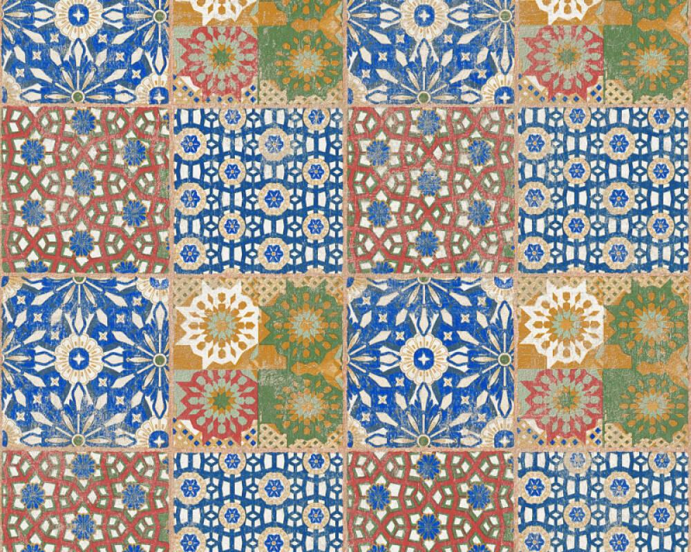 A.S. Création papier peint Tuile, 3D, beige, bleu, marron, rouge 368951