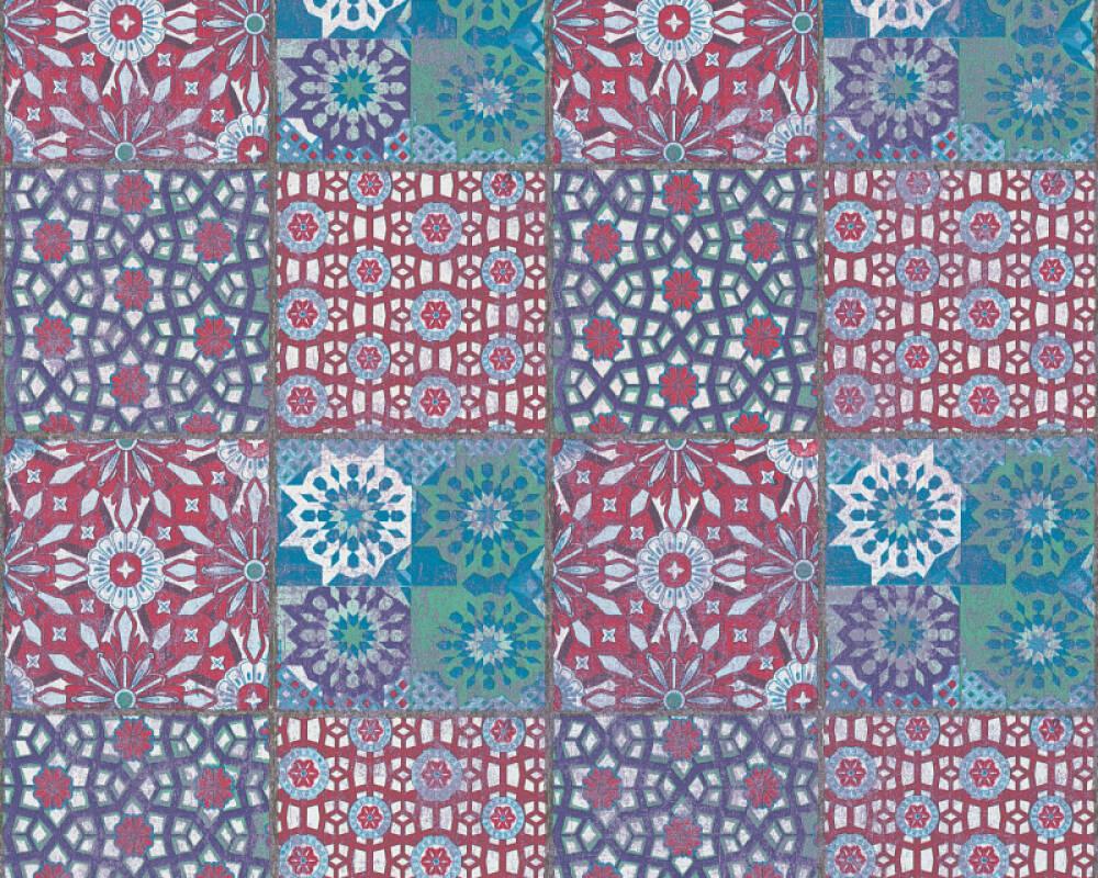 A.S. Création papier peint Tuile, 3D, bleu, marron, noir, rose 368952